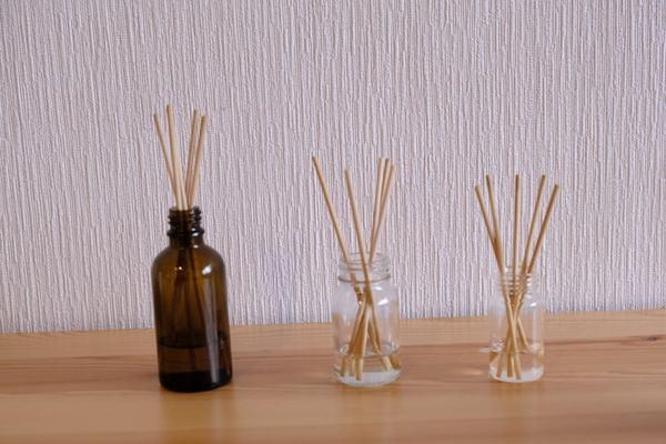 竹串と空き瓶、無印アロマで!リードディフューザーが2分でできた