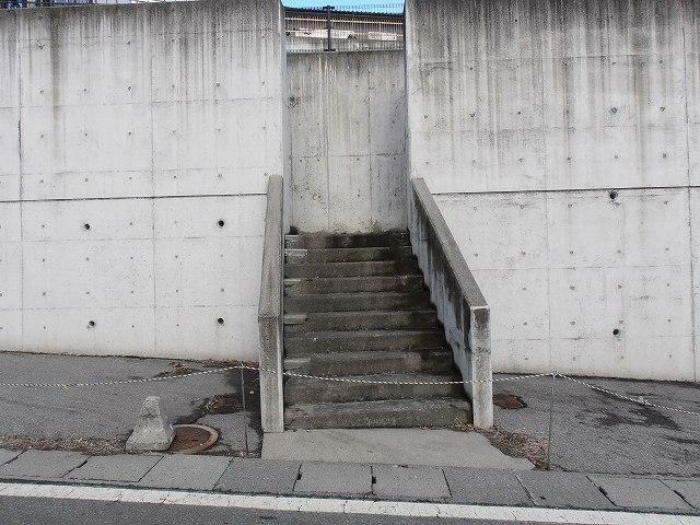 現況写真 敷地入口 前面道路との高低差約5m