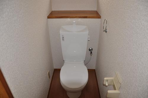 トイレ 棚がうれしい1階のトイレ。