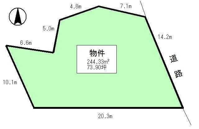 土地図面 公簿:244.33平米(73.9坪)