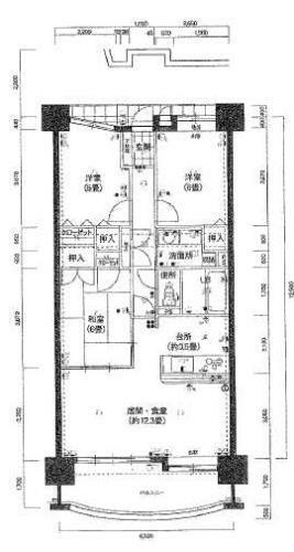 間取り図 南向き9階部分で採光・眺望良好な3LDK!専有面積76.71平米!