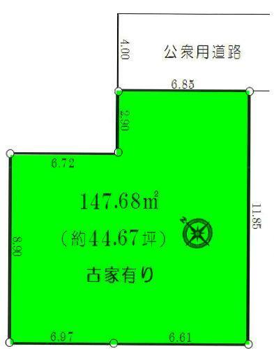 土地図面 敷地44.67坪、閑静な住宅街に立地しています