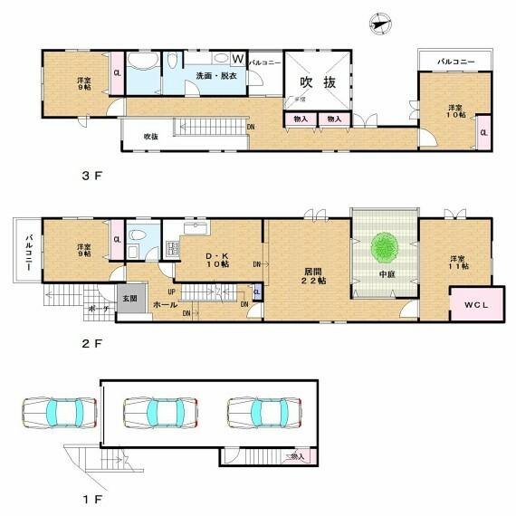 間取り図 リビングと洋室の間に中庭があり、玄関、ホール、リビングスペースが吹き抜けになっていて、とても開放感のある住宅です。寝室やバルコニーから見える夜景が一押しの物件です。