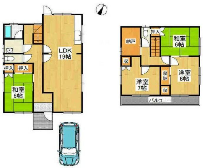 間取り図 全居室6帖以上で各居室収納あり!