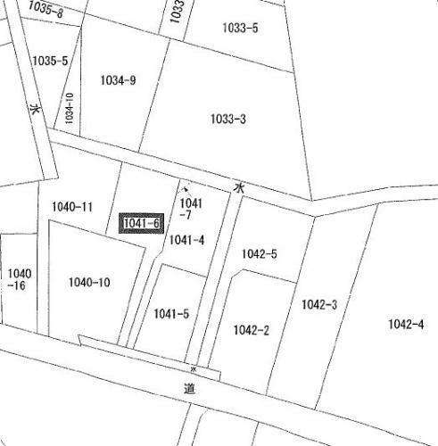 土地図面 南側4m市道に2m接した旗竿地になっています。