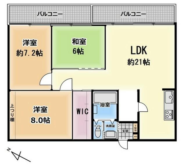 間取り図 3LDK。快適性とゆとりをデザインしたリビングは広々約21帖。 リビング隣の和室は、趣ある安らぎ空間。来訪時としても重宝します。