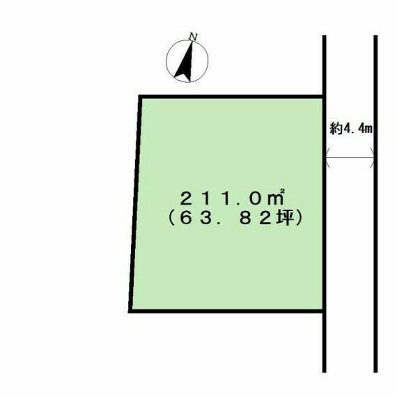 土地図面 63坪の広々とした敷地です。