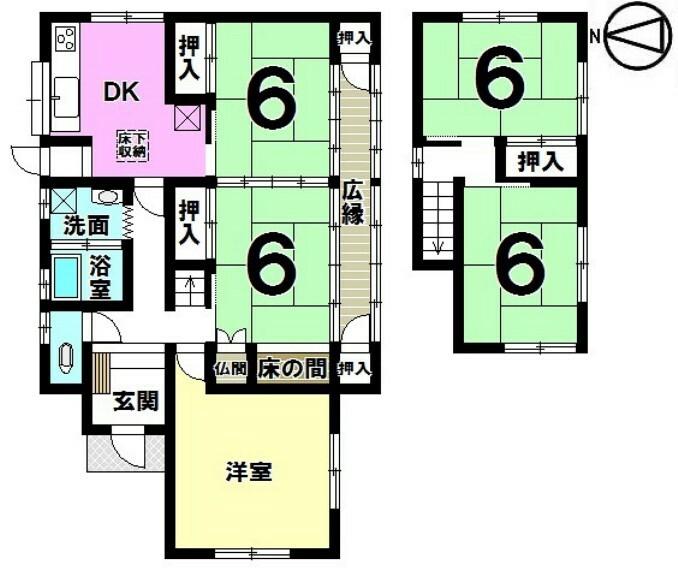 間取り図 土地面積 281.39平米 建物面積 99.36平米 5LDK 駐車場2台