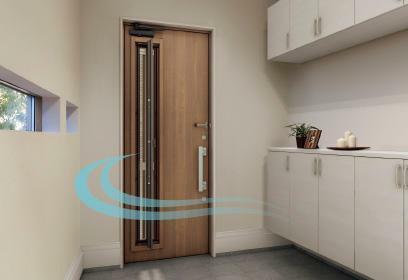 玄関 「通風・採光型扉」 鍵を閉めたままでも新鮮な空気を採り込める玄関扉。親子扉で格式高い玄関。