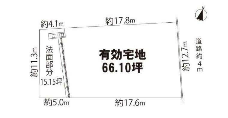 土地図面 駅徒歩圏・道路と土地の高低差の少ない土地です がけ条例・第3種風致地区・有効宅地は218.54平米(66.10坪)