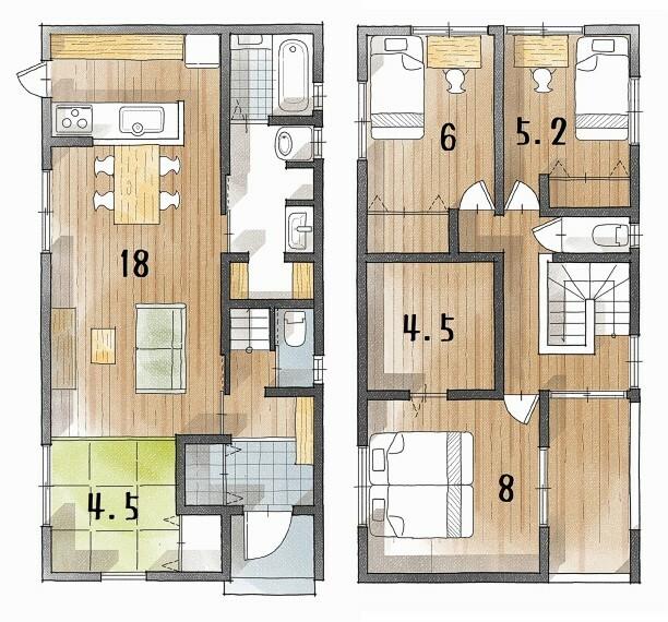 間取り図・図面 消費税別、設計管理費・各種保険別 ※建築プランは一例です。お客様が自由に決定できます。