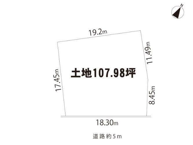 土地図面 東南道路・建物付(昭和48年1月築・延55.21平米・木造瓦葺2階建)