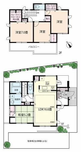 間取り図 LDKは16.6帖のゆったりスペース。ウォークインクローゼットをはじめ、キッチンにはパントリーと収納も豊富です。