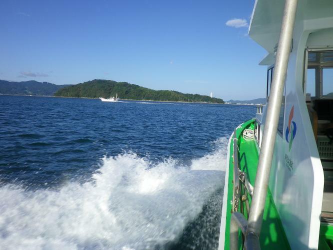 現況写真 連絡船で笠佐島へ