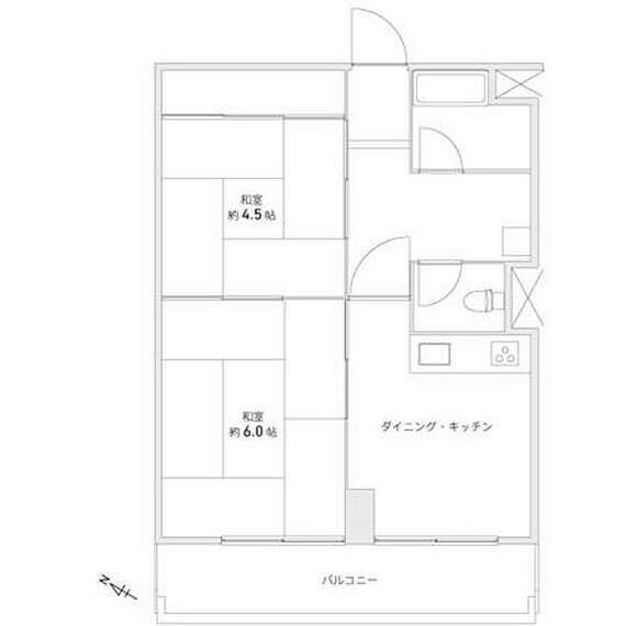 間取り図 南向きにつき陽当り良好、東横線「中目黒」駅徒歩6分、2DK