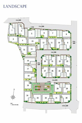 区画図 全体区画図  旗竿敷地ならではの形状を活かして、園路のような奥行き感ある空間を演出します。