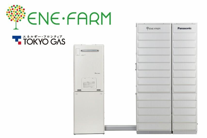 発電・温水設備 エネファーム  エネルギーをつかう家から、つくる家へ。 エネファームとは普段通りの暮らしで自然とエコができる「発電する給湯器」。月々の光熱費が削減できるうえ、停電時の電気利用など多彩な機能を持っています。
