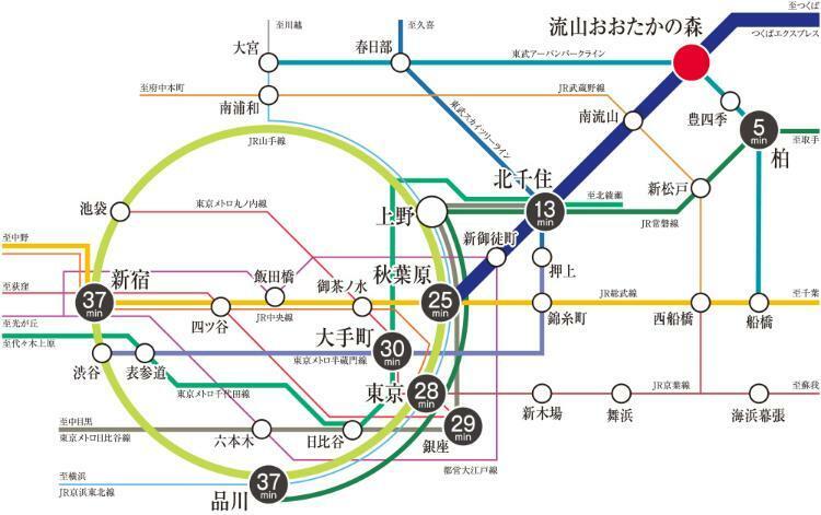 つくばエクスプレス・東武野田線「おおたかの森」駅まで徒歩8~12分。