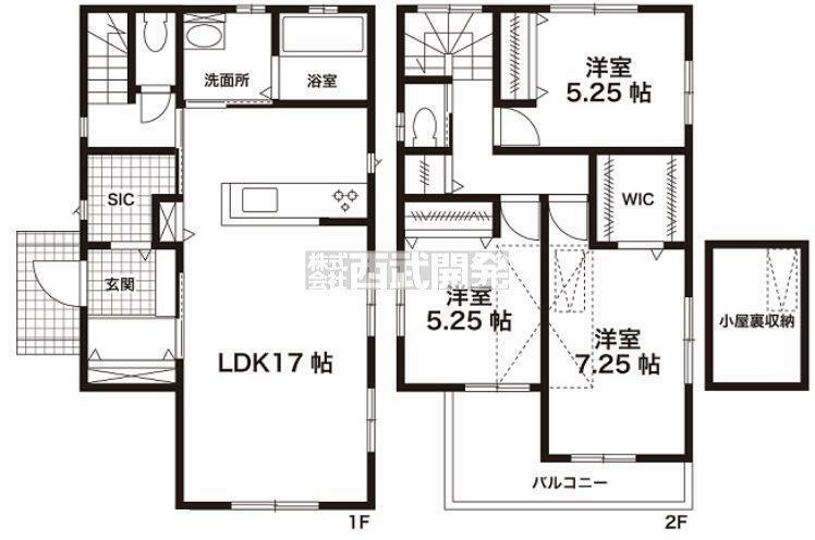 間取り図 【5号棟間取り】土地面積119.9m2、建物面積91.29m2
