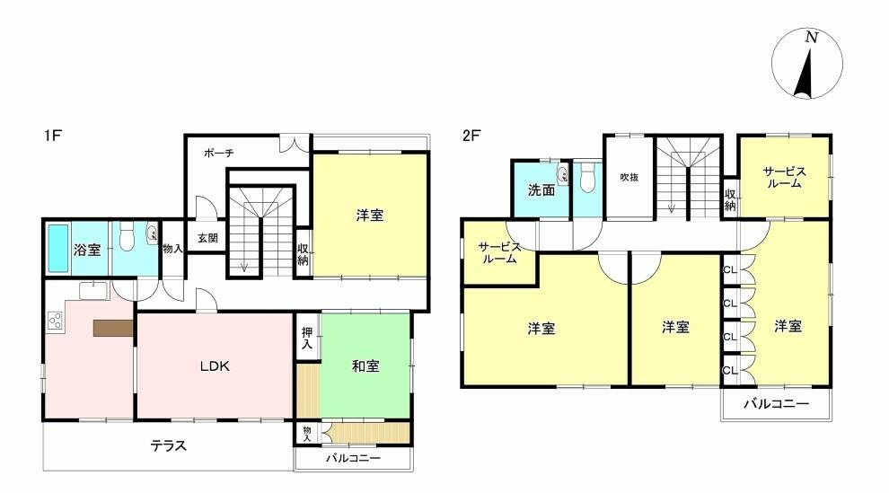 間取り図 5LDK+2S 土地面積265.11平米 建物面積174.20平米