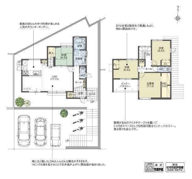 間取り図 B7-3号棟 LDK全体を見渡せるキッチンやリビングアップ階段が家族とのコミュニケーションを豊かにし、繋がりを強めます。LDKを全て南面させた、日当たりの良い健やかに暮らせる空間です。