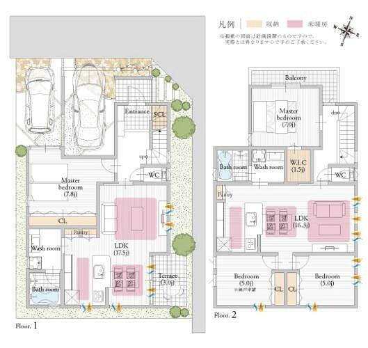 参考プラン間取り図 【参考プラン/二世帯住宅プランも発表】 大阪市内で二世帯生活も叶えられる、家族の繋がりを重視したプランもKANJUの自由設計出なら思いのまま。