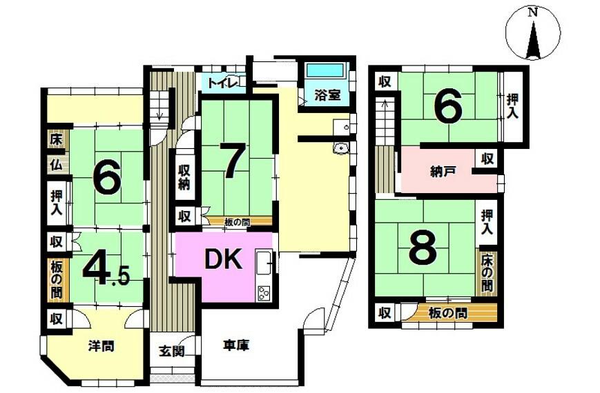 間取り図 和室が5つ、洋間1つ、納戸、DK!部屋には収納があります。