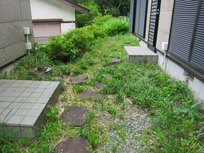庭 母屋と付属建物の間にあるお庭スペース
