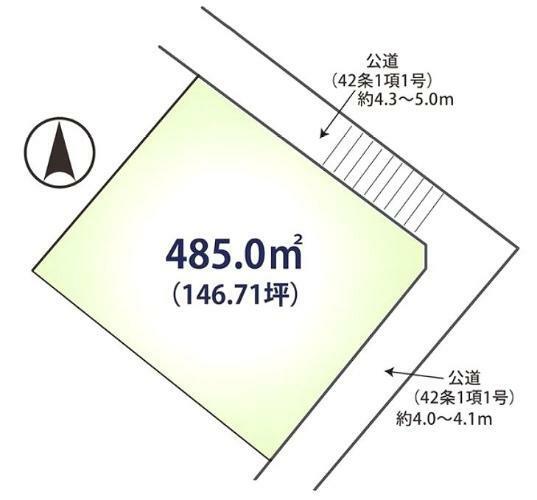 区画図 人気の翠松園エリア、146坪の見晴らし良好な高台!