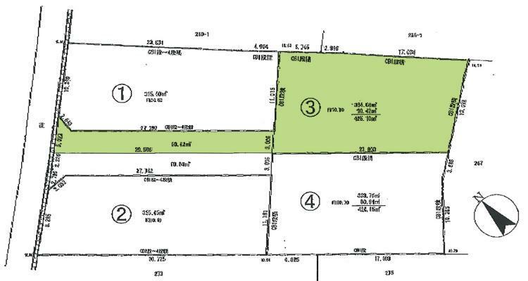 区画図 有効宅地敷地面積約101坪の売地です。建築条件ありません。自由設計プランお作りします。協定道路部分90.42平米有り。
