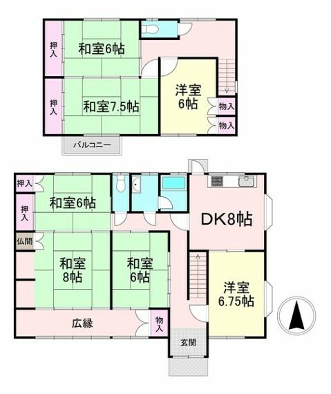 間取り図 間取り・オール電化住宅の7DK!