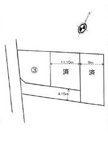 区画図 土地面積は約44坪とゆとりある広さ。建築条件はありません。