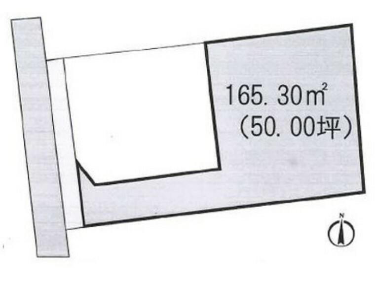 区画図 敷地面積は約50坪とゆとりある広さ。建築条件はありません。