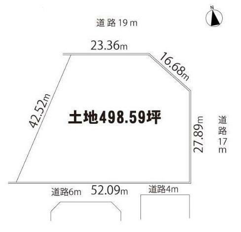 土地図面 木更津バイパスに面す、三方角地(北・東・南) ※買主は2023年6月28日までに建物を建築しなくてはなりません。