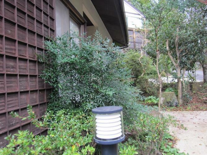 玄関 玄関前の坪庭