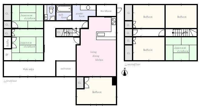 間取り図 ゆとりある室内空間です。