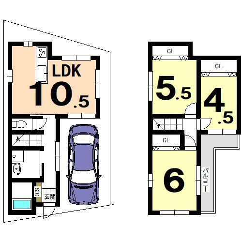 区画図 参考プラン 建物面積:68.38平米 建物価格:1530万円