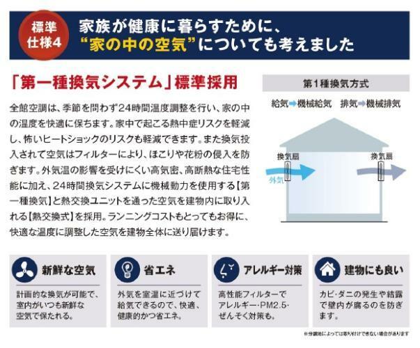 構造・工法・仕様 【第1種換気システム】 給気側も排気側も両方ともファンを取付け、強制的に換気する方法です。室内の空気をクリーンに保ち、アレルギーをお持ちの方や大気汚染が気になる小さなお子様がいる家も安心です。