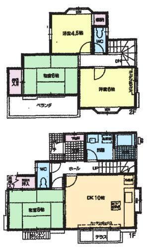 間取り図 居室4部屋の4DKタイプです。各階にトイレがあるので、忙しい朝でも混雑することなく安心ですよ。