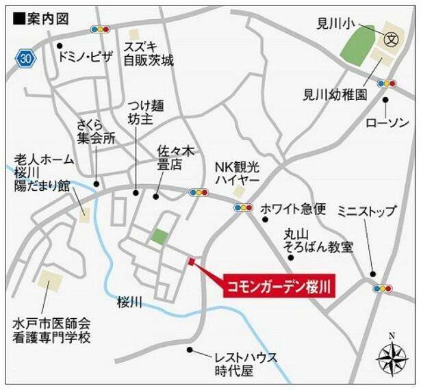 コモンガーデン桜川周辺案内図です。