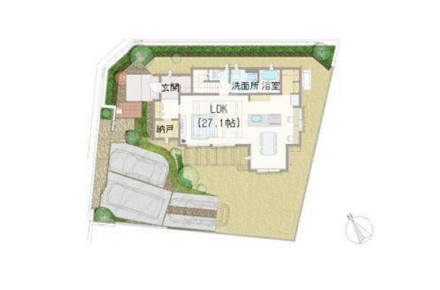 間取り図 【E棟1階】27帖の大空間LDKは圧巻です。土間収納・納戸・パントリーと、適材適所に収納を計画。ダイニングにはスタディーコーナーも計画しております。