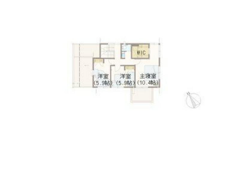 間取り図 【E棟2階】寝室にはWICを併設、さらにユーティリティスペースを確保し書斎としてもお使いいただけます。その他、洋室を2部屋計画しております。また2階にも洗面カウンターをご用意しています。