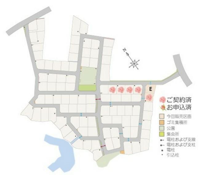区画図 コモンガーデン桜川 建売住宅の区画図です。