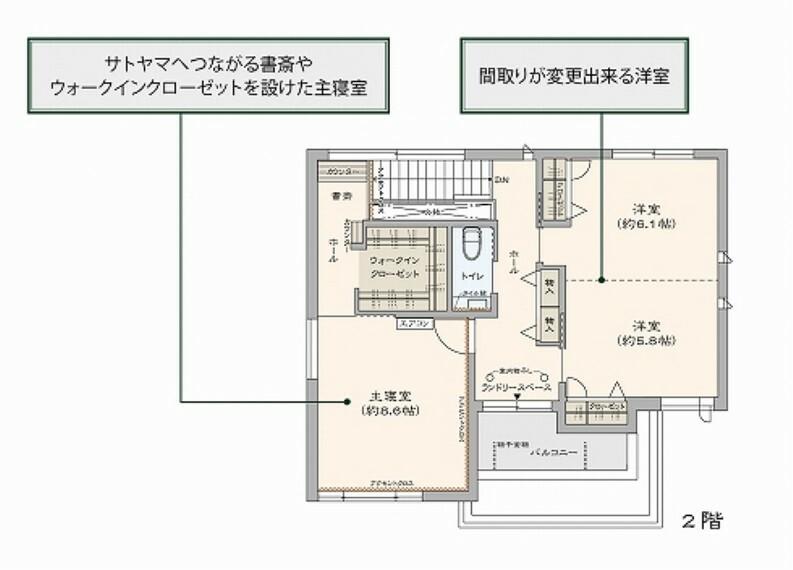 間取り図 14号地:2階平面図