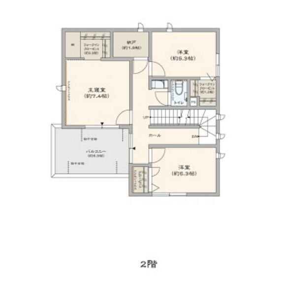 間取り図 各部屋のWICと納戸を設けることで2Fにも収納スペースをしっかり確保。部屋をすっきり片付けることができます。(No.7)図面を基に描き起こしたもので、実際とは異なる場合があります。