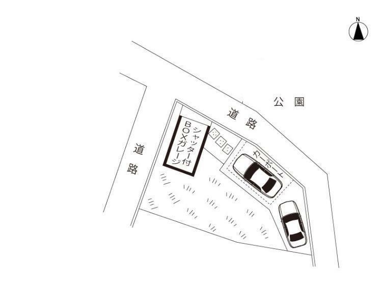 土地図面 シャッター付きBOXガレージ3台以上駐車可