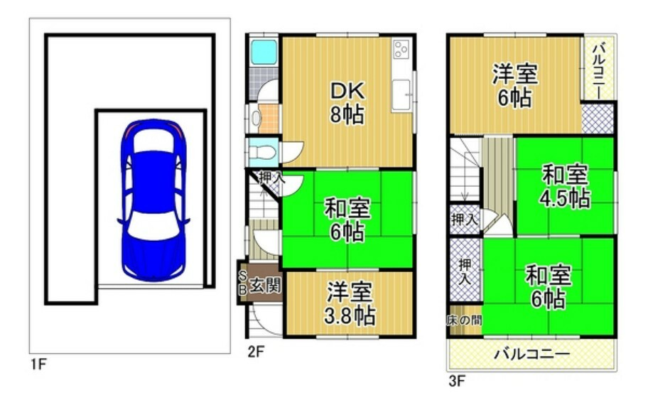 間取り図 間取り:5DK 価格:1680万円 土地面積:42.75平米 建物面積:85.82平米