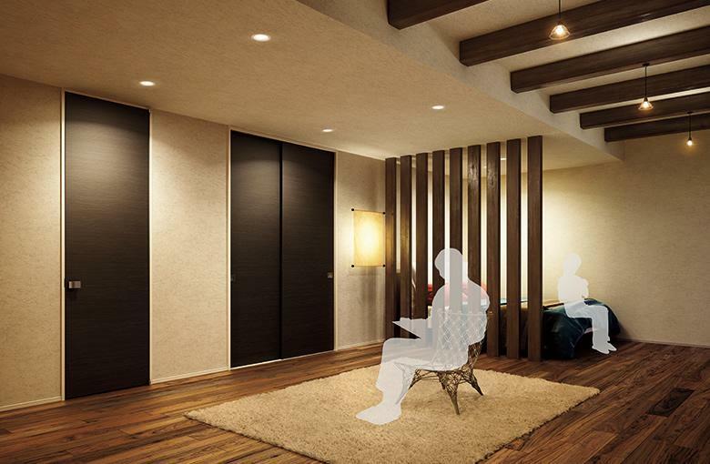 構造・工法・仕様 2.4m天井までの高さの建具を採用。廊下と室内の天井に切れ目がなく開放感が高まります