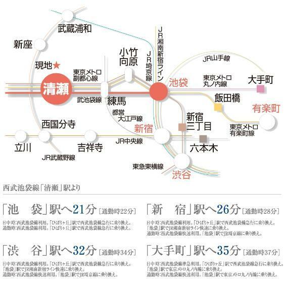 【交通アクセス図】 「清瀬」駅は「池袋」「新宿三丁目」「有楽町」への直通アクセスが可能。また、現地周辺のバス停からは「新座」駅などへのバス便もございます。