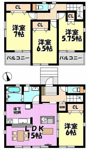 間取り図 4LDK リビング15帖 隣接する洋室の扉を開放すると21帖超の広々空間になります 全室南向き